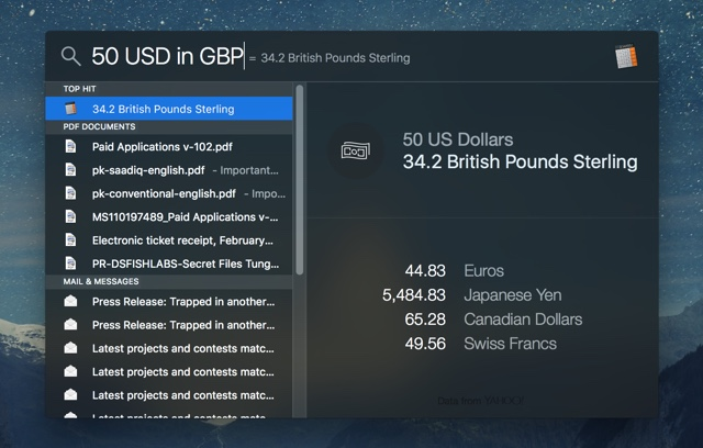 Currency conversion Mac