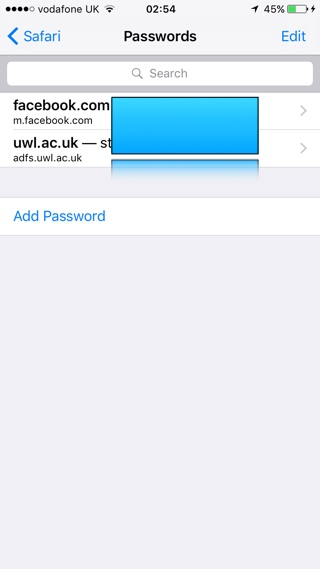 Safari Autofill Passwords Settings