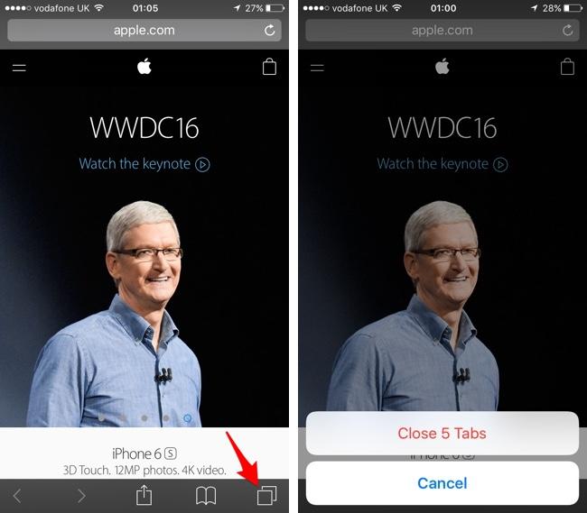 Safari iOS 10 close tabs