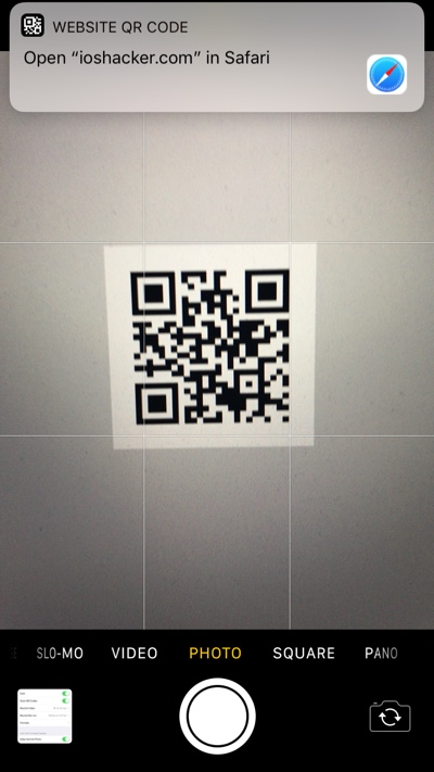 you can scan qr codes on ios 11 powered iphone or ipad ios hacker. Black Bedroom Furniture Sets. Home Design Ideas
