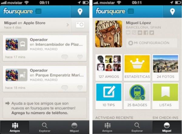nuevo y rediseñado Foursquare