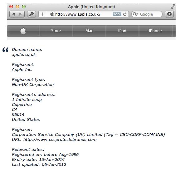 dominio Apple.co.uk