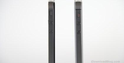 representación diferencia del grosor entre iphone 5 y 4S