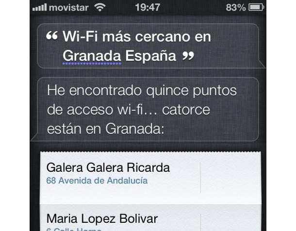 Siri ¿WiFi más cercano en Granada?