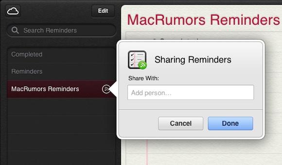 recordatorios compartidos desde la web de iCloud