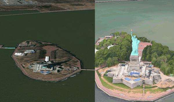 Estatua de la Libertad, antes y después.