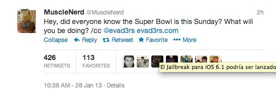 MuscleNerd nos da más información del jailbreak de iOS 6.1 en su Twitter. ¿Será este domingo?