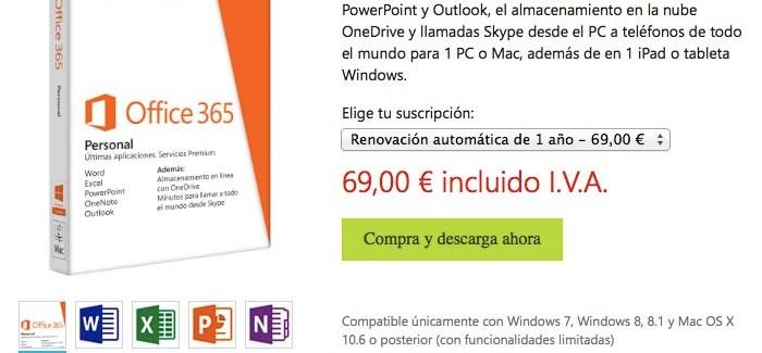 """Office 365 """"Personal"""" en oferta por 69 euros al año"""