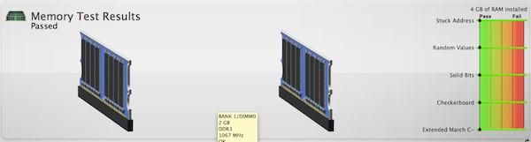 Resultado test de Memoria RAM con Tech Tool v.7