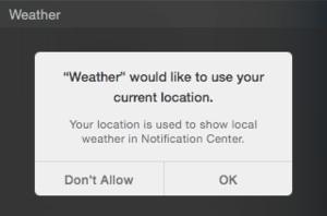 Screen shot weather Yosemite