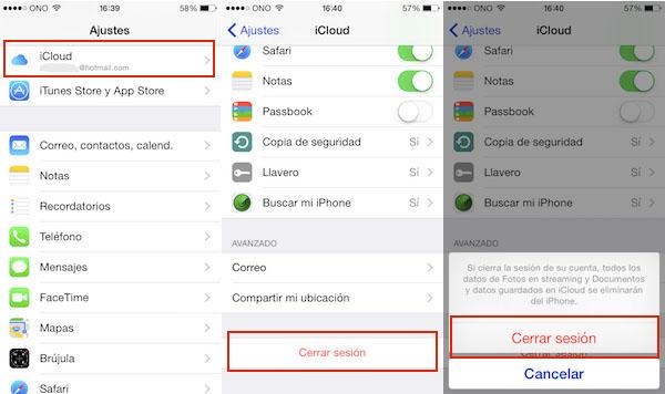 eliminar una cuenta iCloud desde un iPhone