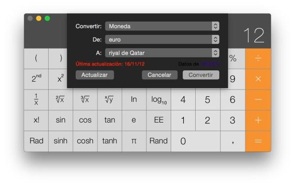 Conversor de monedas en la calculadora OS X