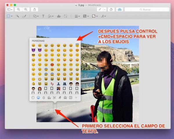 Selecciona el texto y con el atajo o con el menú, saca los Emojis