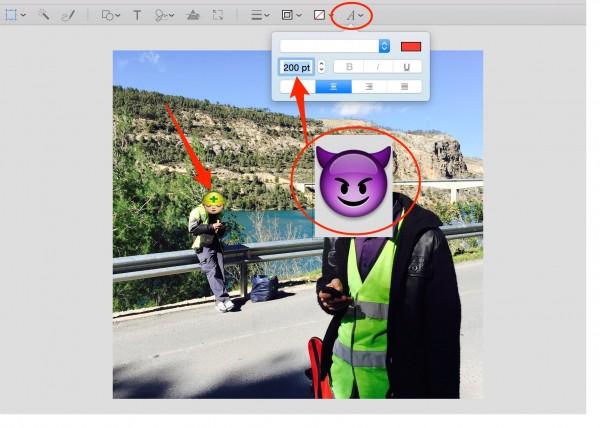Mueve y redimensiona cada Emoji sobre tu imagen