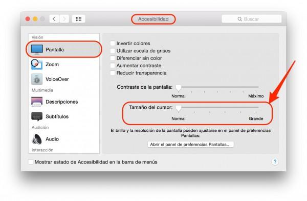 Como ampliar el tamaño del cursor en un Mac