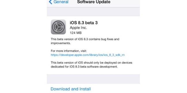 iOS 8.3 beta 3 disponible para desarrolladores