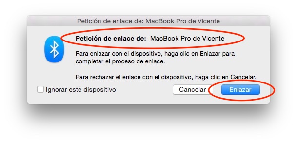 My MacBook wants to link to my iMac, this is prompted on my iMac, I accept it