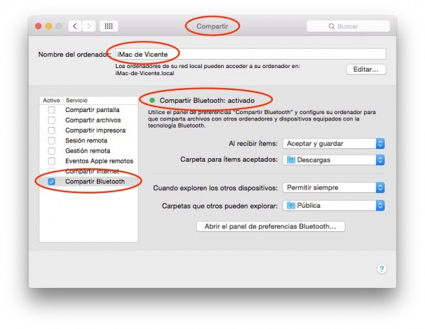 Share in System Preferences