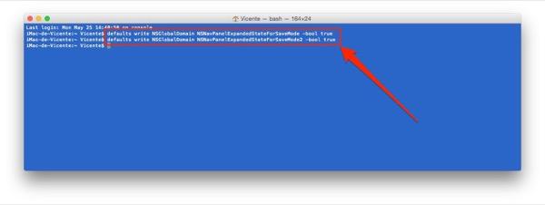 Aplicación Terminal · Cómo expandir menú guardar en Mac por defecto