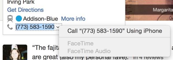 Llamar desde el iPhone a un número de teléfono en el Mac