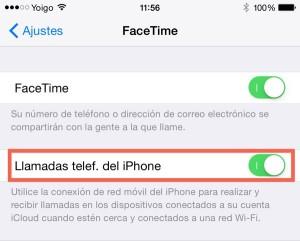 Ajustes, FaceTime (iPhone)