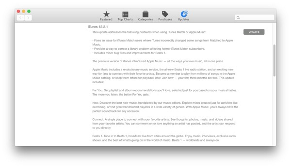 iTunes 12.2.1 Una actualización con reparaciones
