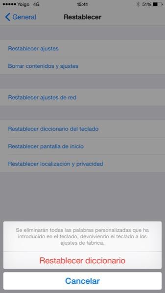 Cómo restaurar el diccionario del teclado en iOS