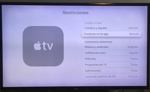 Restricciones Apple TV 3