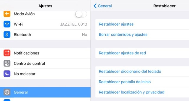 Ajustes restablecer iPhone, ipad