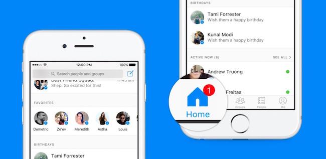Facebook Messenger se actualiza con una nueva interfaz Home