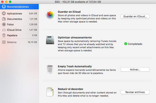 optimizacion disco macOS Sierra