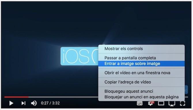 Usar la función Picture-in-Picture en Youtube en macOS Sierra