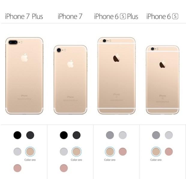 Colores disponibles en el iPhone 7 y iPhone 6s