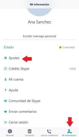Skype ajustes