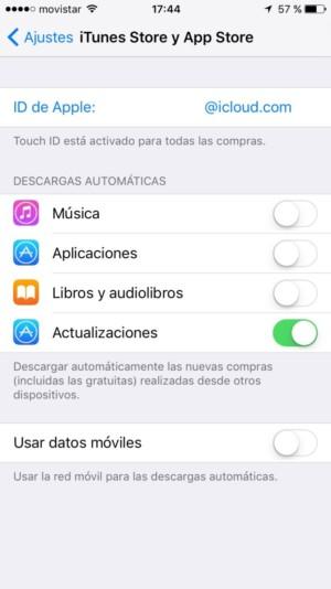 Ajustes App Store y iTunes Store