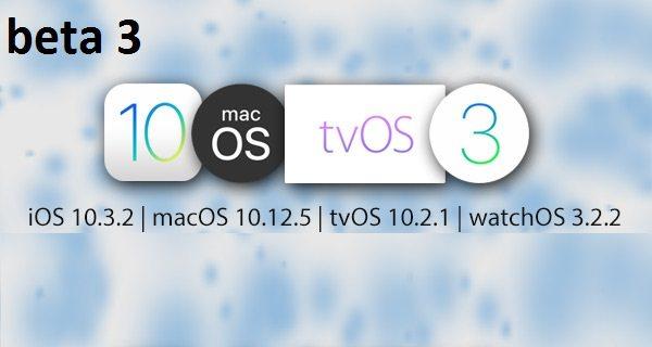 Apple libera beta 3 de iOS 10.3.2, macOS 10.12.5, watchOS 3.2.2 y tvOS 10.2.1