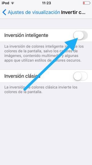Activar 'Inversión inteligente' en iOS 11