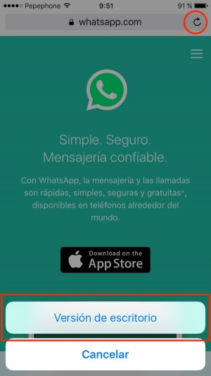 WhatsApp web en el iPad o iPhone