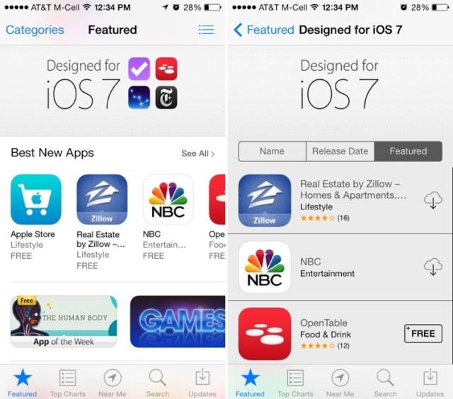 App Store en iOS 7