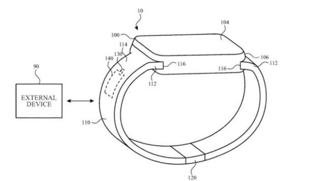 Antena en la correa del Apple Watch comunicándose con otros dispositivos