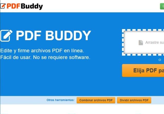 Página principal de PDFBuddy, editor online de PDF