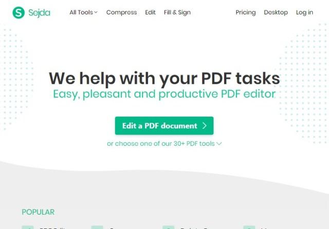 Modificar un PDF gratis con Sejda
