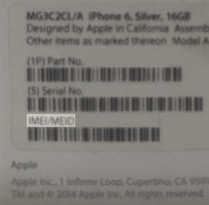 IMEI del iPhone en caja