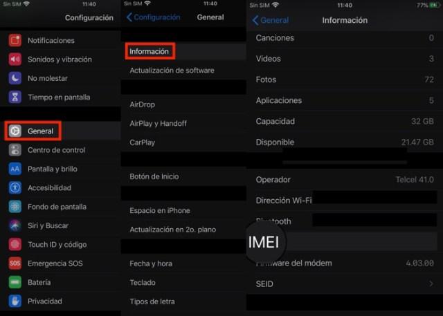 IMEI del iPhone menú Configuración