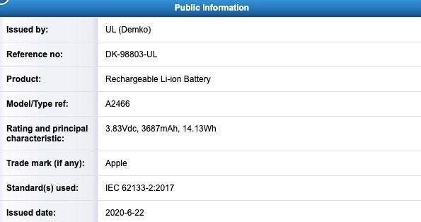 Registro batería iPhone 12 Pro Max A2466