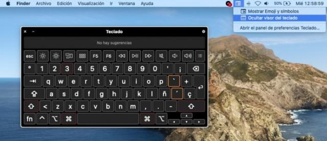 Visor del teclado macOS