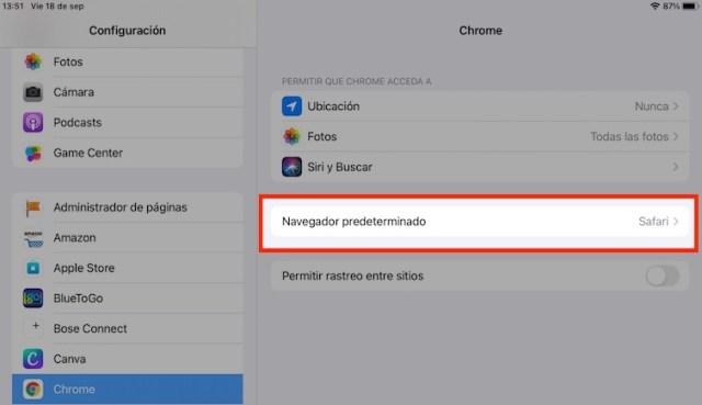 Navegador predeterminado iOS 14
