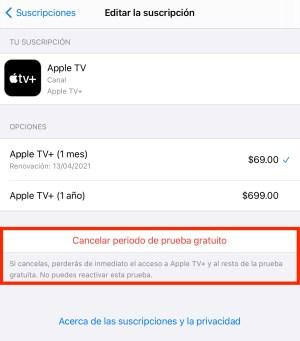 Cancelar suscripción Apple TV+