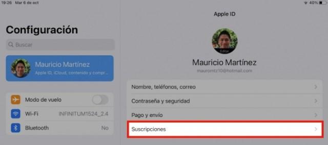 Suscripciones Apple ID
