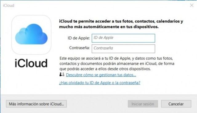 Inicio de sesión en iCloud para Windows